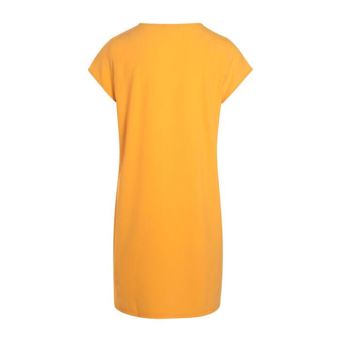 Robe unie détails imprimé jaune or femme