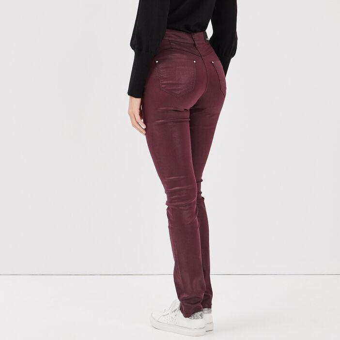 Pantalon ajusté détails zippés violet foncé femme