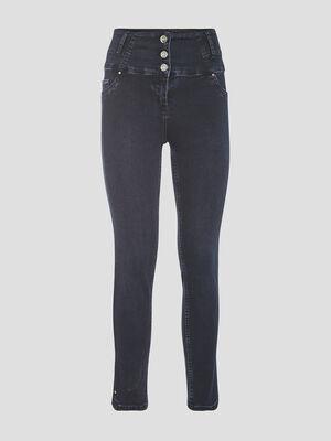 Pantalon ajuste taille haute denim brut femme