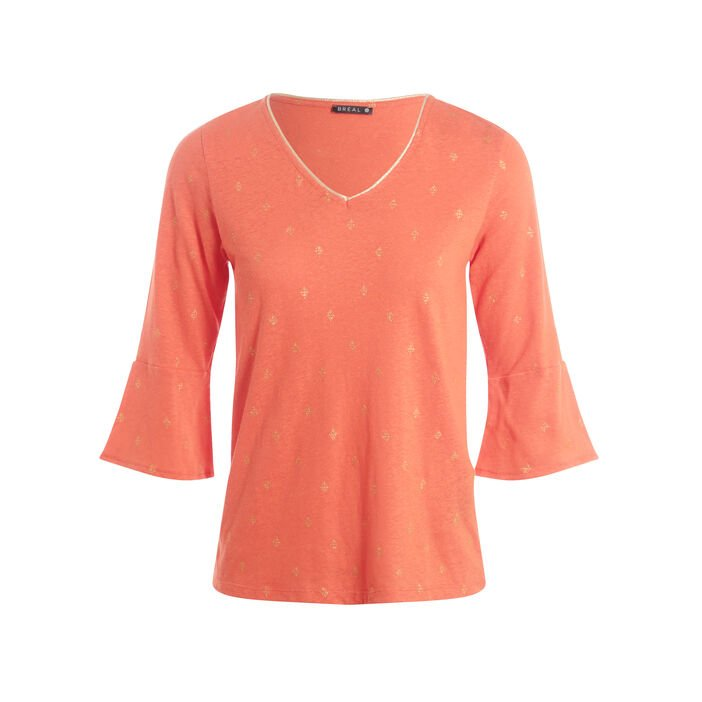 T-shirt manches 3/4 orange femme