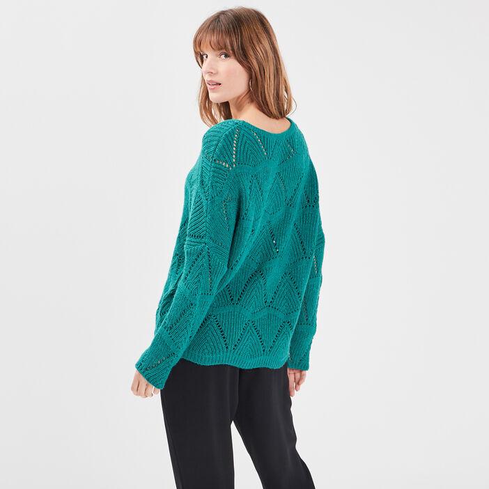 Pull manches longues ajouré vert émeraude femme