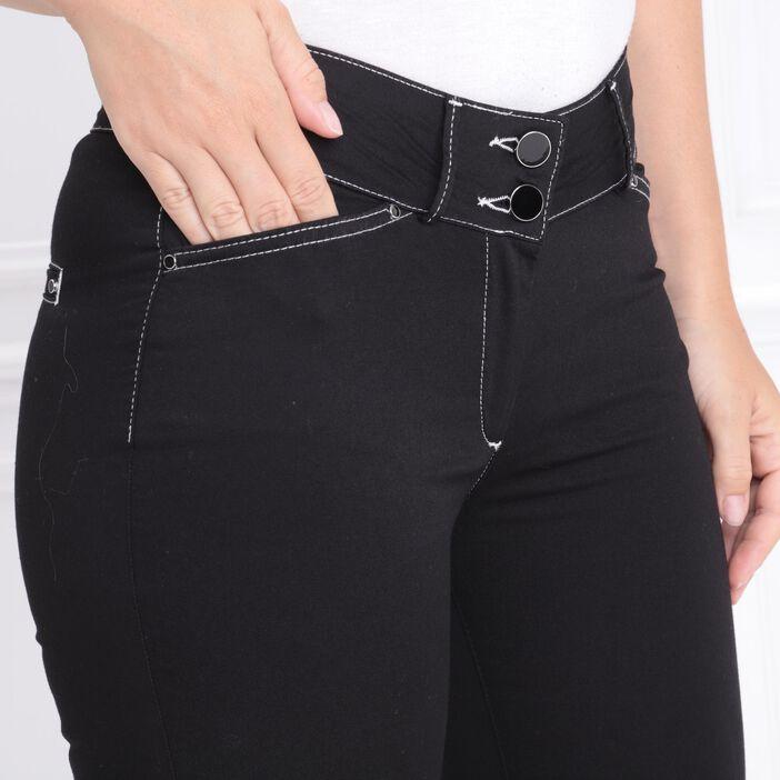 Pantalon ajusté 4 poches noir femme