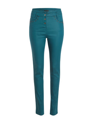 Pantalon ajuste a broderies bleu canard femme