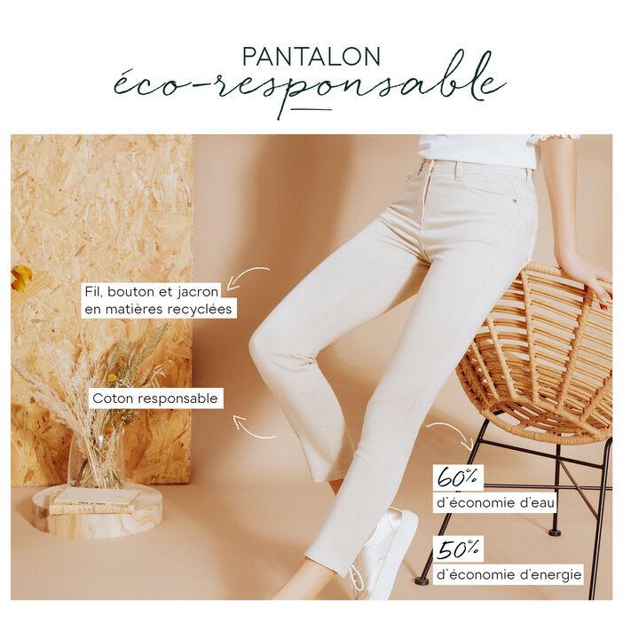 Pantalon ajusté taille standard sable femme