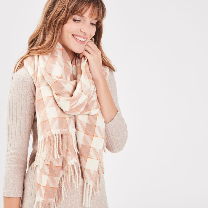 Écharpe à franges rose femme