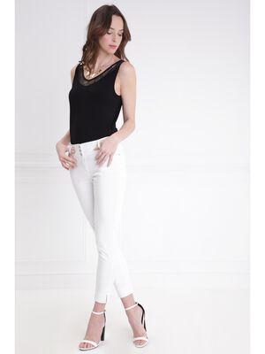 Pantalon imprime a pois blanc femme