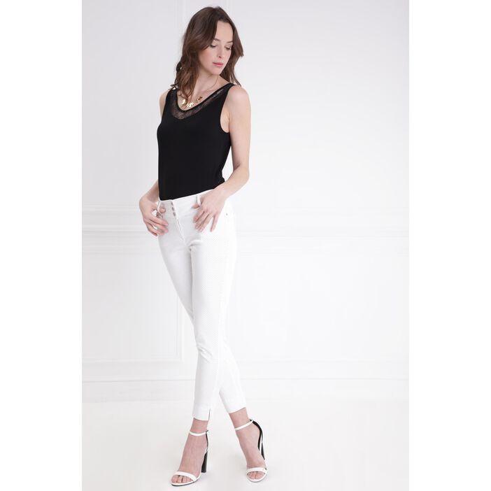 17a956fa72b65 Pantalon imprimé à pois blanc femme | Bréal