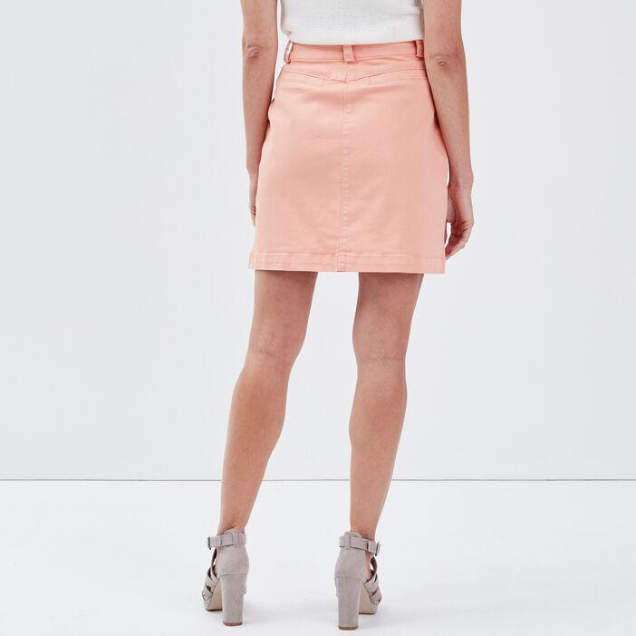 Jupe droite ceinturée rose clair femme