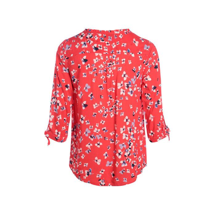 Chemise imprimée manches nouées rouge corail femme