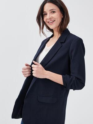 Veste droite bleu fonce femme
