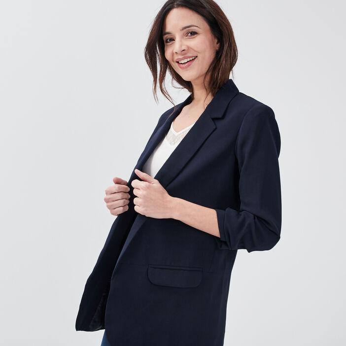 Veste droite bleu foncé femme