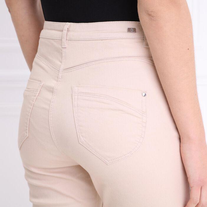 Pantalon ajusté taille haute beige femme