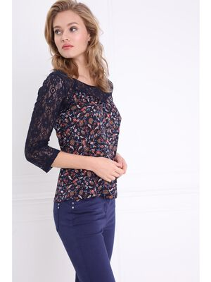 T shirt manches 34 bimatiere bleu fonce femme