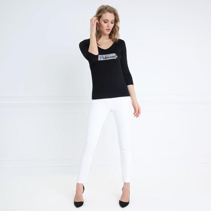 T-shirt manches 3/4 col V noir femme