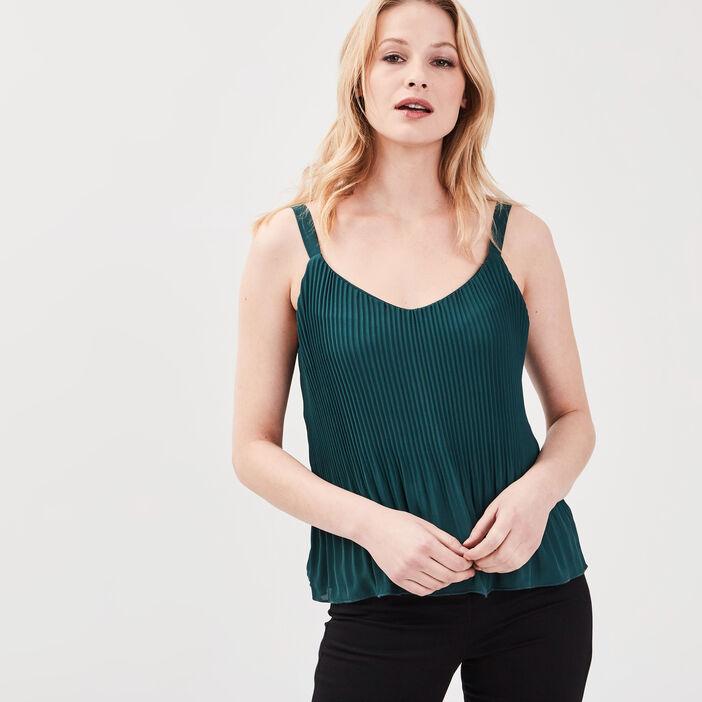 Débardeur bretelles larges vert canard femme