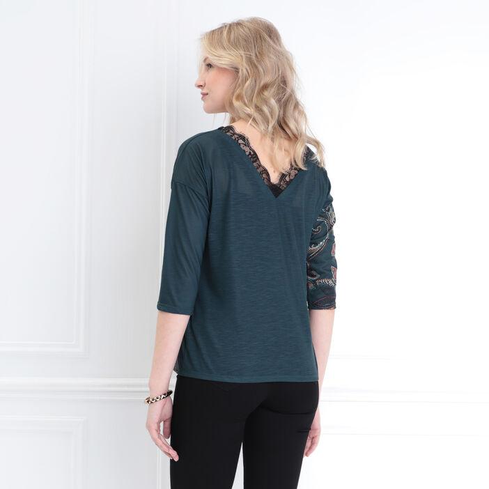 T-shirt manches 3/4 dos en V vert foncé femme