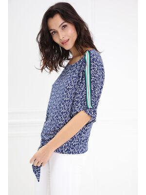 T shirt fluide imprime bleu marine femme