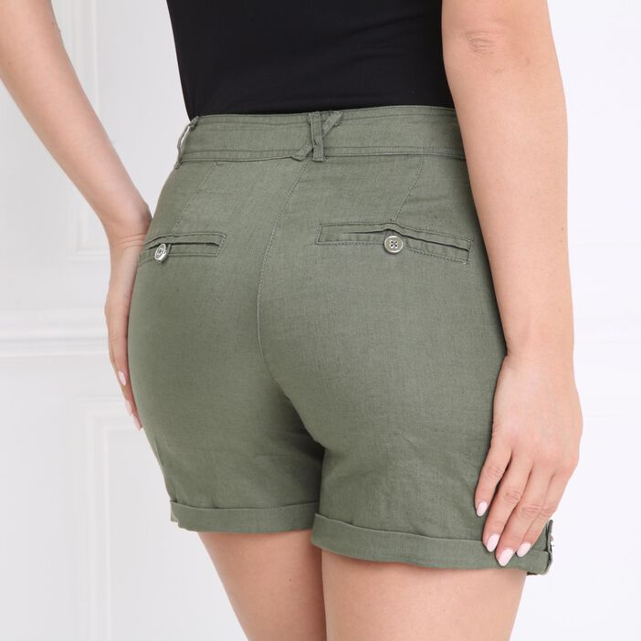 Short droit taille standard vert kaki femme