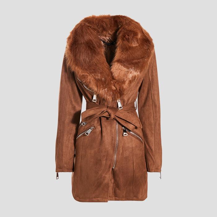 Manteau col fourrure marron femme