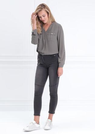 Blouse manches longues gris femme