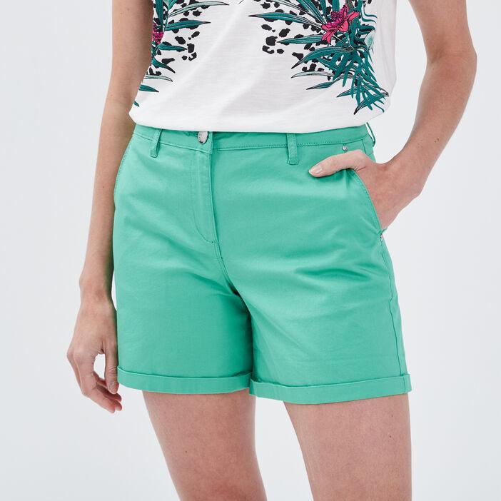 Short droit taille haute vert femme
