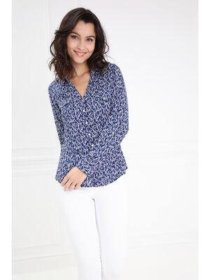 Chemise droite imprimee bleu marine femme