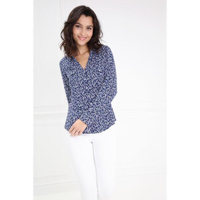 Chemise droite imprimée bleu marine femme