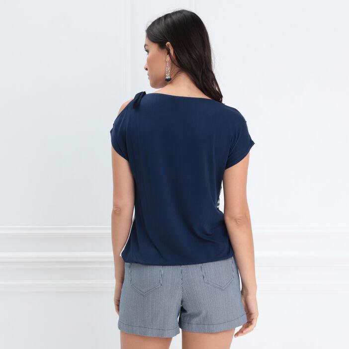 T-shirt manches courtes noué bleu foncé femme
