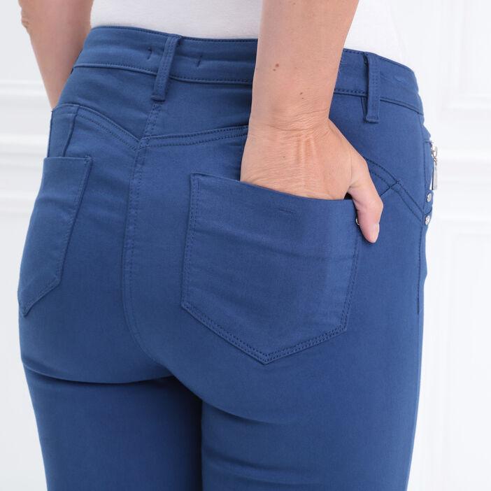 Pantalon ajusté taille haute bleu roi femme