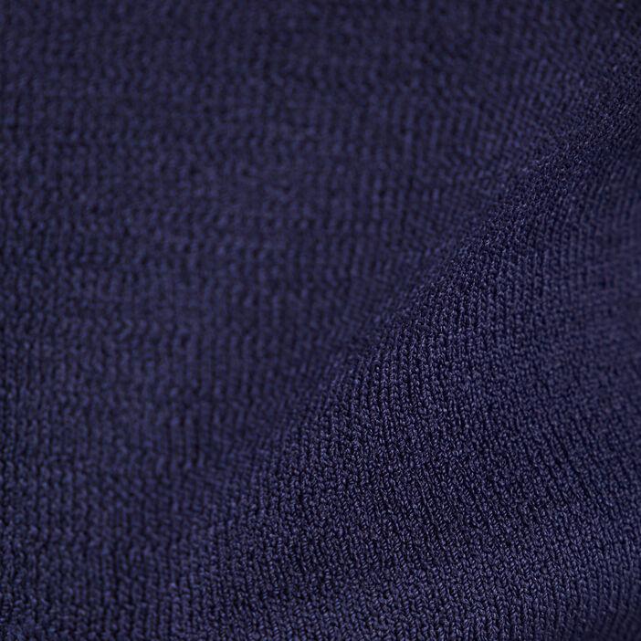 Gilet manches longues ceinturé bleu marine femme