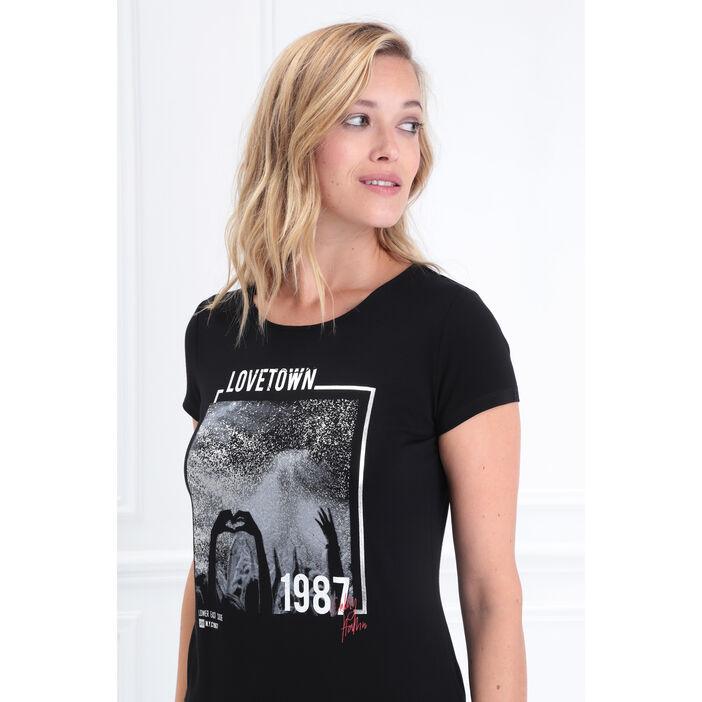 T-shirt manches courtes noir femme