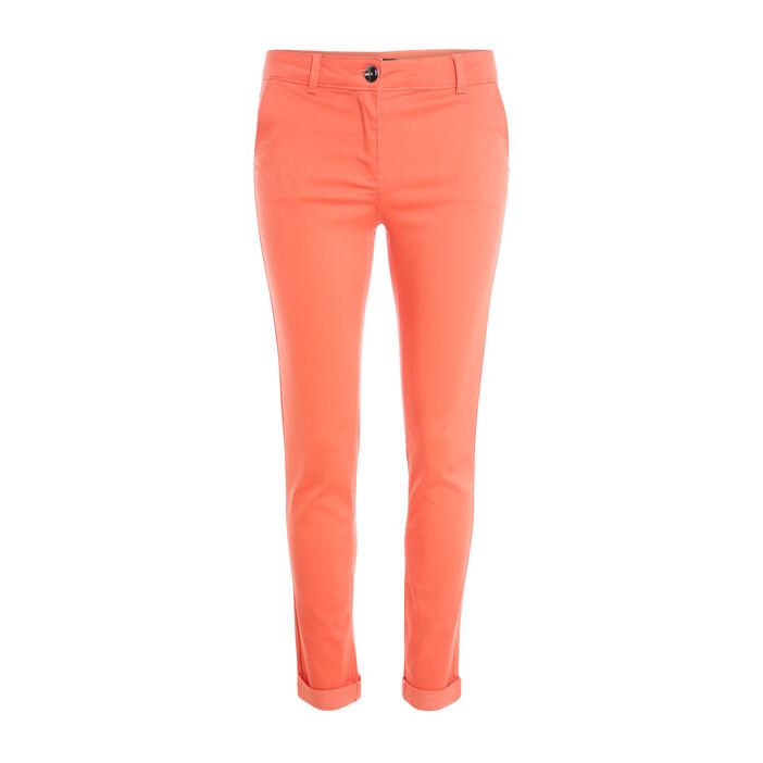 Pantalon ajusté urbain orange corail femme