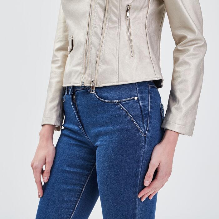 Veste droite zippée beige femme