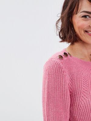 Pull fantaisie a epaules boutonnees rose corail femme