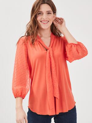 T shirt manches 34 rose corail femme