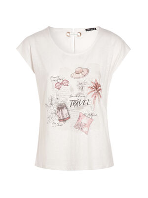 T shirt avec dessin voyage ivoire femme