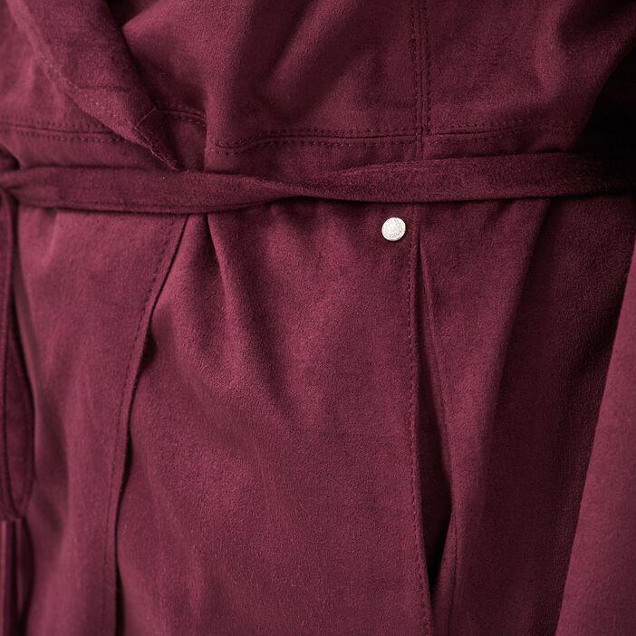 Veste droite suédine violet foncé femme