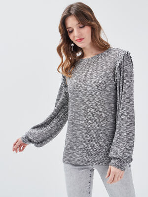 T shirt manches longues gris fonce femme
