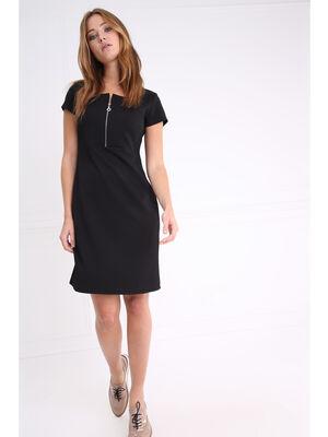 Robe courte manches courtes devant zippe noir femme