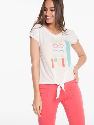 T shirt imprime ecru femme