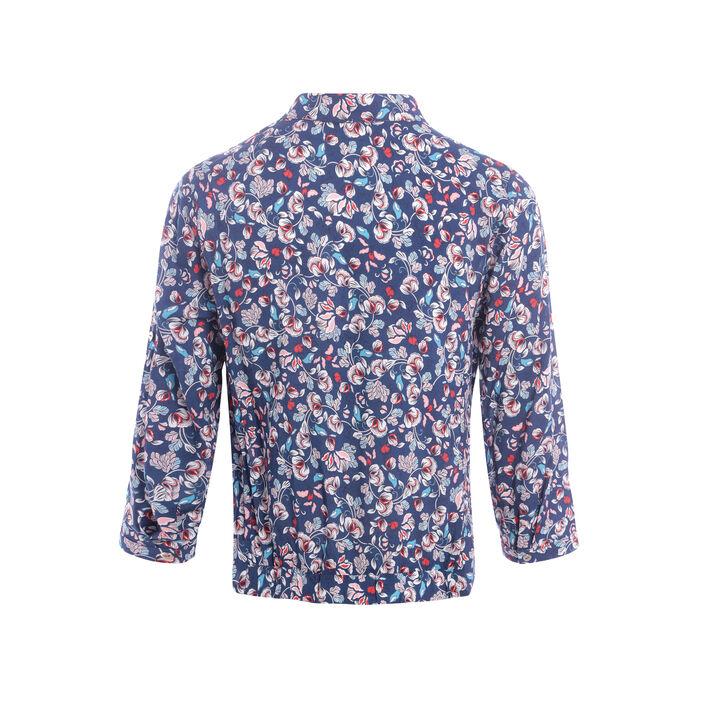 Chemise manches 3/4 imprimée nouée bleu marine femme