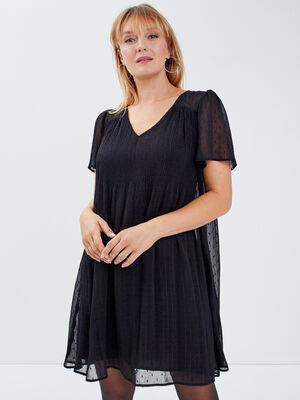 Robe evasee plissee noir femme