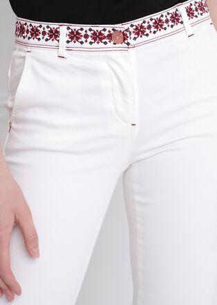 Pantalon ajuste taille basculee 78eme creme femme
