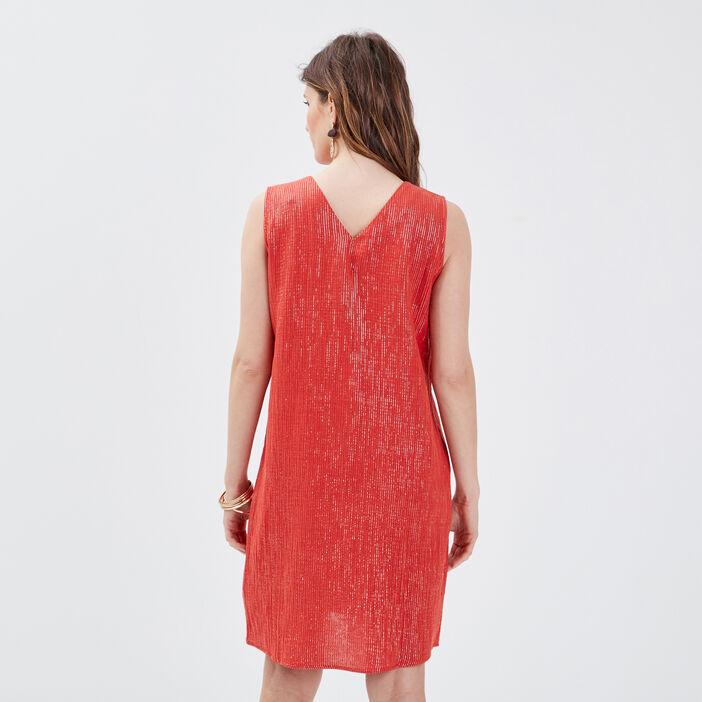 Robe droite sans manches rouge femme