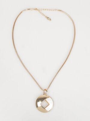 Collier ras de cou cordon et pendentif couleur or femme