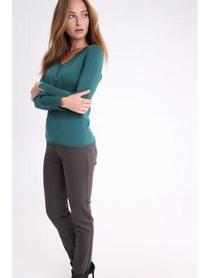 Pantalon a poches zippees gris fonce femme