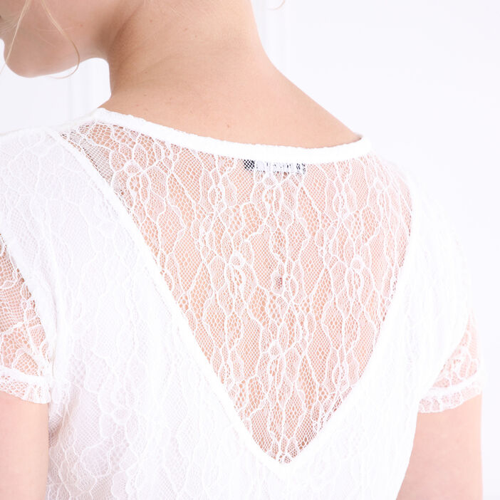 T-shirt avec dentelle macramée ecru femme