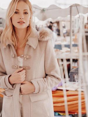 Manteau droit a capuche creme femme