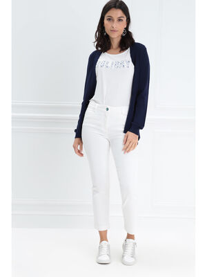 Jeans 78eme taille basculee ecru femme