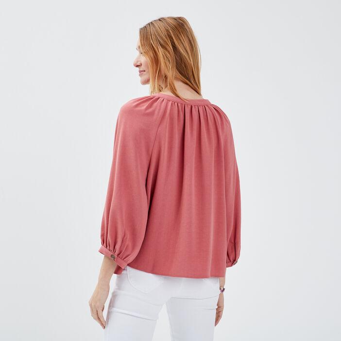 Chemise manches 3/4 vieux rose femme